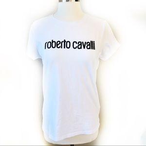 ROBERTO CAVALLI white tee with black beaded logo